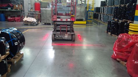 Red Zone Danger Area warning light for forklifts, creates